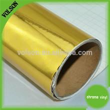 top quality CAR STICKER Stretch Car Wrap Gold Mirror Chrome Vinyl Film with air bubble free size 1.52*30 m