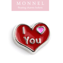 F13 MONNEL Best Selling Red Heart Engraved I Love You Floating Charm Locket Jewelry