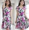 2015 New Fashion Spring And Summer Print Short-sleeve V-neck Slim Dress