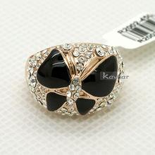White or Black Enamel Gem Paved Top Mount Butterfly Finger Ring R2002