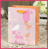 Cartoon cute flower and birds gift paper kids bag