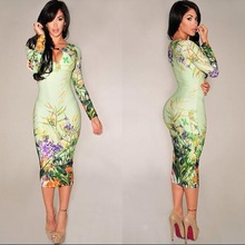 2014 women Autumn Celebrity Floral Print Bodycon Dress Ladies sexy plus size party dresses bandage long sleeve pencil dress C027