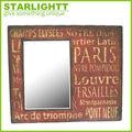 Afligido creme de madeira da parede espelho/país- estilo vintage madeira wall mirror/shabby chic espelho da parede