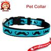 Mustache Dog Collar / Black Mustache on Teal Blue / Pet Accessories / Handmade / Adjustable