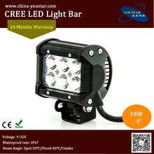 Flood beam, spot beam 18w 4 inch atv bar led ip67 double row cree 18w led lights, atv led bar with low price