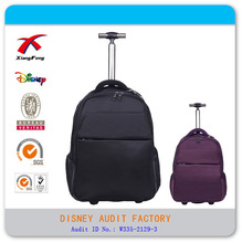 Black nylon Classic 18'' laptop trolley bag with hide shoulder strap