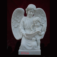 white marble woman and baby angel statue with wings