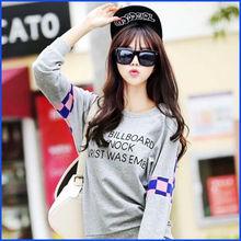 2014 factory direct sale 100% cotton long sleeve promotional women custom tshirt