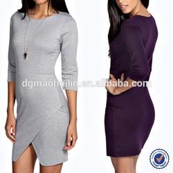 2015 women autumn wholesale 3/4 sleeve woven jersey wrap dress pattern