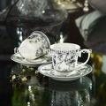 100cc zarif ince yeni kemik çini düz beyaz kahve fincan ve tabaklar nocturne