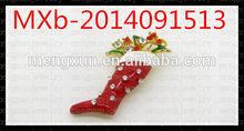 2015 cheapest Christmas Stocking Rhinestone Brooch for Handbag decoration