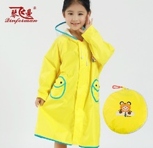 eco-friendly school bag raincoat polyester with PU coating rain jacket