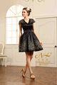 La conception spéciale de charme à la main d'or- boispeint coupe dentelles- v manches- cou, une ligne de robes de soirée 2015 robe de soirée rouge et noir deux