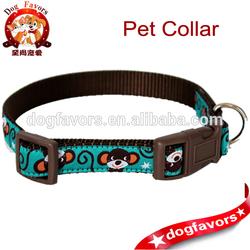 Teal Monkey Dog Collar - Ribbon Dog Collar - Jungle - Adjustable