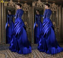 NI-333 Rami Kadi Noble High Neck Floor Length Lace And Satin 2013 Long Sleeve Evening Dresses