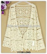 2014 Fashion crochet lace long sleeve womens clothing