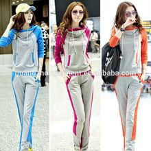 casual lady Track suit Jacket sweat pants set,women's pure cotton sport Slim leisure Hoodie