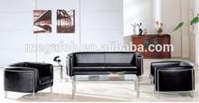 High quality modern office black leather sectional sofa u shape(FOH-6679)