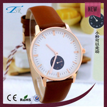 Vogue watch for teenage with simple face hot sales genuine leather strap watch with high qality unisex unisex watchmade in China