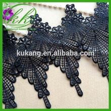 Retro Lace Trim Chic Venise Feather Lace Black Lace Trim Embroidery Dress Fabric KK5077