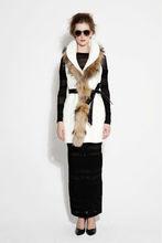 Luxury noble fur fox collar sleeveless ladies used long winter coats