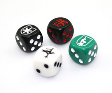 16mm colored one side custom engraved dice, plastic dice, board game dice