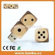 2014 New products dice shape 8gb wooden USB drive 2.0 usb flash memory