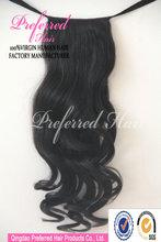 Best seller Body curl 1b# 18'' Virgin brazilian human hair pony tail accept Escrow