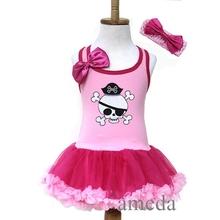 Halloween Girls Light Hot Pink Pirate Skull Tutu Pettiskirt Party Dress and Headband