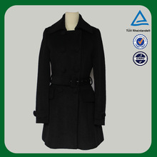 2014 latest Korean black design noble wool coat for girls wool coat