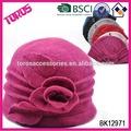 de alta calidad de la moda de las señoras de fieltro de la tapa de color rosa con flores de lana tejido de sombrero de venta al por mayor