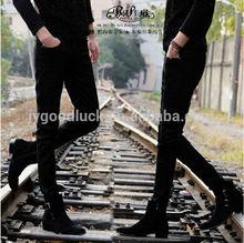 2014 Peijiaxin Hotsale Fashion Deisgn High Qualitly Black Ripped Jeans Men