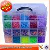 Christmas Gifts loom bands kit Bracelet clear plastic box for Kids DIY bracelets 10000pcs rubber bands, 24 clips, hook+shell+box