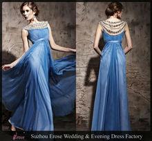 GB111 New Arrival High Neckline Empire Waist Floor Length Chiffon Crystal Evening Dresses