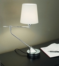 fabric cone shade, metal round base bending arm desk reading table lamp