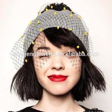 New Style Black Veil dots Flowers Knitted Crochet Winter Warm Hat Beanie Ski Cap