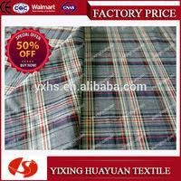 Yarn dyed Plaid 100% Cotton Heather Gray Fabric