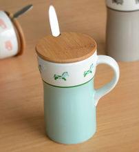 zakka grocery minimalist fashion creative ceramic mug with lid with a spoon breakfast coffee cup Milk Cup 3006