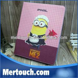 Despicable ME Movie Minion 3D Cartoon Cover for ipad mini,PU Leather Skin for Ipad Mini