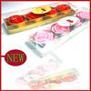 4pcs pvc box packing rose shape wedding floating tealight candle