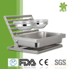 H009 Stainless Steel Buffet Rack Buffet Display Stand with 2 Glass Bowls GN Pan 1/1