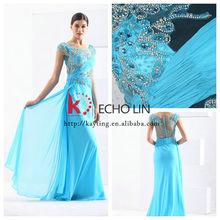 Sexy hot fashion show prom dress evening dress sky blue long evening dress 2014