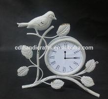 Rustic White Antique Round Clock Desk Clock