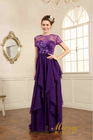 Mystery transparent lace short sleeve embroidered red and purple two color evening dresses 2015 long evening gown