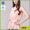 Chiffon blouses 2014 of women cloth with ruffle stand collar sleeveless ladies shirts blouses work