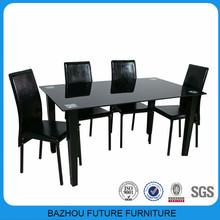 glass top metal leg cheap modern dining room set