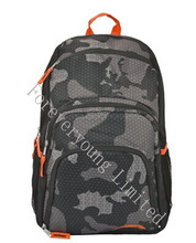 18 inch Outdoor Hiking Backpack / Student School Book Bag - Gray Camouflage Pattern / Orange