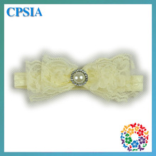 2014 popular fashion flower making Baby hair accessory ivory elastic lace headband for girls