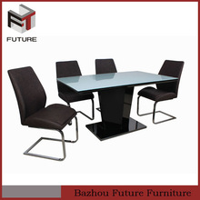 elegant glass top wood dining table set made in China
