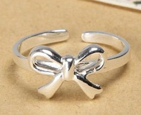 925 sterling silver crystal bow finger ring